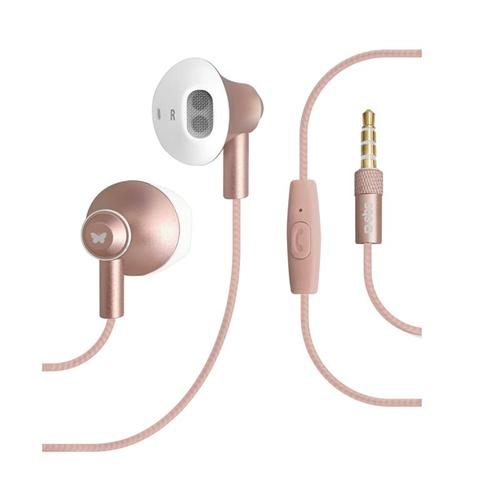 Auricolari stereo con cavo Jack universale da 3,5 mm, microfono integrato, tasto risposta/fine chiamata, colore rosa