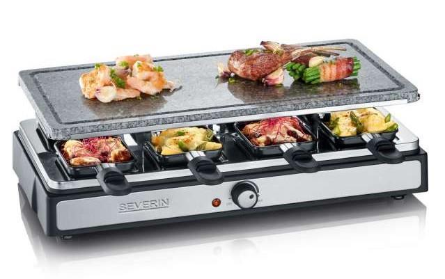 Severin RG 2346 griglia per raclette 8 persona(e) Nero, Grigio, Acciaio inossidabile 1400 W