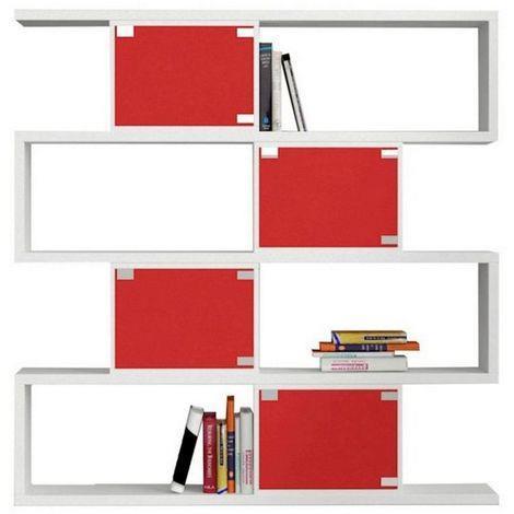 HOMEMANIA Libreria Vino. Scaffale, Mobile da Parete. Con Ripiani. Da Salotto, Ufficio. Bianco, Rosso in Legno, 140 x 30 x 143 cm