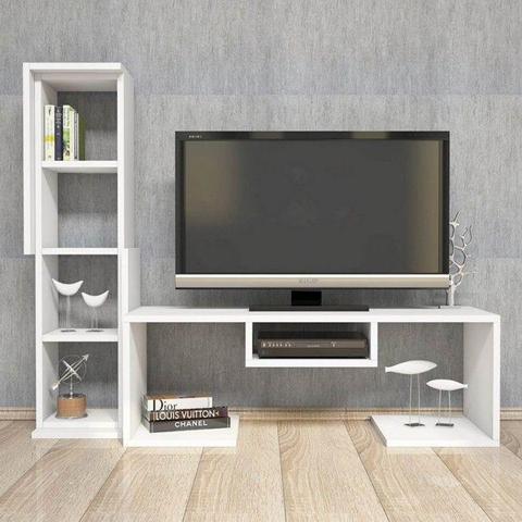 HOMEMANIA Mobile Porta TV Bacio Moderno. Con Ripiani. Da Salotto. Bianco in Legno, 126,8 x 29,5 x 103,6 cm