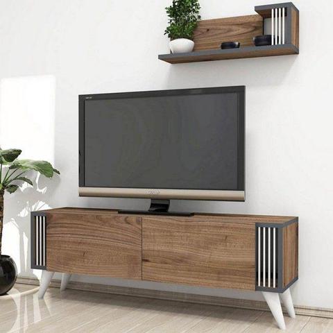HOMEMANIA Mobile Porta Tv Nicol Moderno. Con Ante, Mensola, Ripiani. Noce in Legno, 120 x 31 x 42 cm