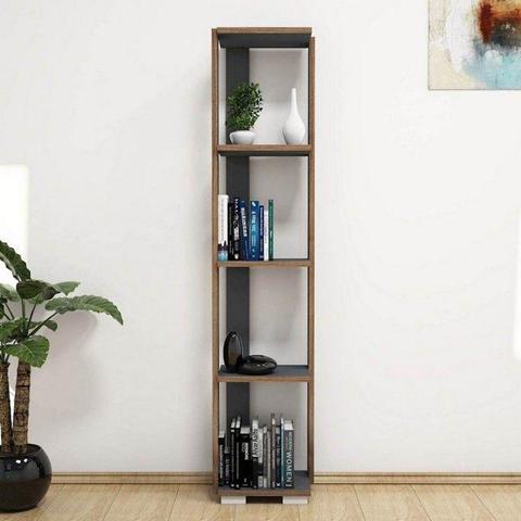 HOMEMANIA Libreria Nicol Scaffale, Mobile. Con Ripiani. Da Salotto, Ufficio. Antracite in Legno, 33,6 x 25,8 x 153 cm