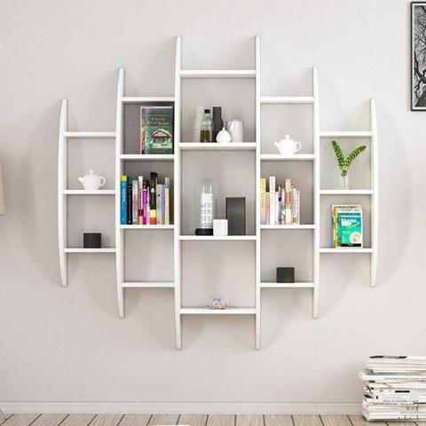 HOMEMANIA Libreria Alvino Scaffale, Mobile da Parete. Con Ripiani. Da Salotto, Studio. Bianco in Legno, 146 x 29 x 147 cm