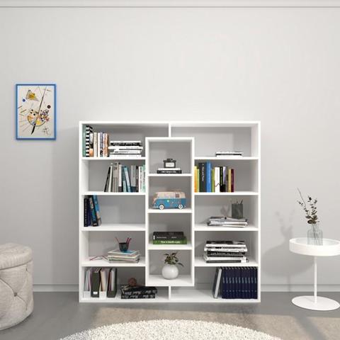 HOMEMANIA Libreria Dalia Mobile da Parete, Scaffale. Con Ripiani. Da Soggiorno, Ufficio, Ingresso. Bianco in Legno, 130 x 27 x 130 cm