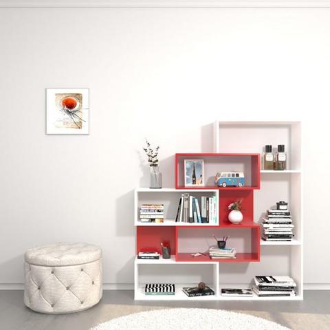 HOMEMANIA Libreria Era Mobile da Parete, Scaffale. Con Ripiani. Da Soggiorno, Ufficio, Ingresso. Bianco, Rosso in Legno, 140 x 27 x 150 cm