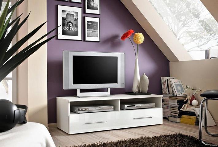 HOMEMANIA Mobile Porta Tv Bern Moderno. Con Ripiani. Da Salotto. Bianco in Legno, 120 x 45 x 37 cm