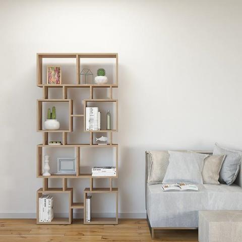 HOMEMANIA Libreria Isle Mobile da Parete, Scaffale. Con Ripiani. Da Soggiorno, Ufficio, Studio. In Legno Naturale, 79 x 24 x 166 cm