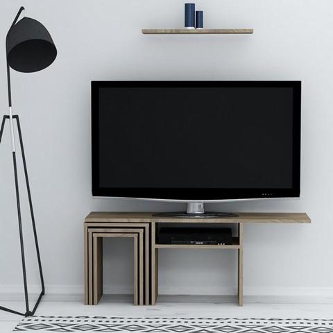 HOMEMANIA Mobile Porta TV Peri con Tavolino da Caff Ante Ripiani da Soggiorno Noce in Legno 120 6 x 29 5 x 49 cm