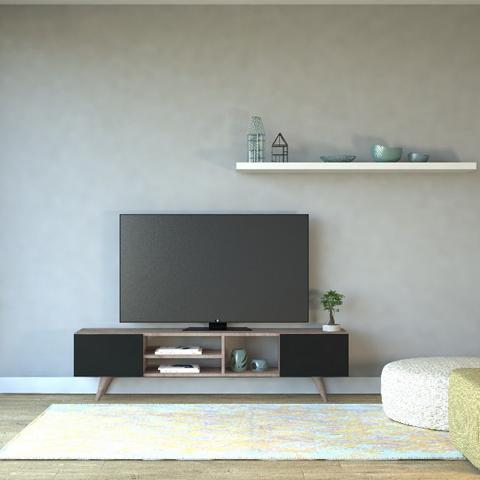HOMEMANIA Mobile Porta TV Dore Moderno. Con Ante, Ripiani. Da Salotto. Noce, Nero in Legno, 160 x 29,7 x 40,6 cm
