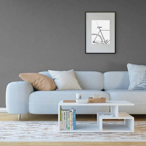 Denver HOMEMANIA Tavolino da Caffè Denver Basso, Porta Riviste. Con Ripiani. Da Salotto, Divano. Bianco in Legno, 80 x 50 x 30 cm