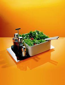 Alessi Programma 8 Servizio per olio aceto sale e pepe in acciaio inossidabile 18/10 lucido bakelite e vetro (pacchetto di 4 pezzi)