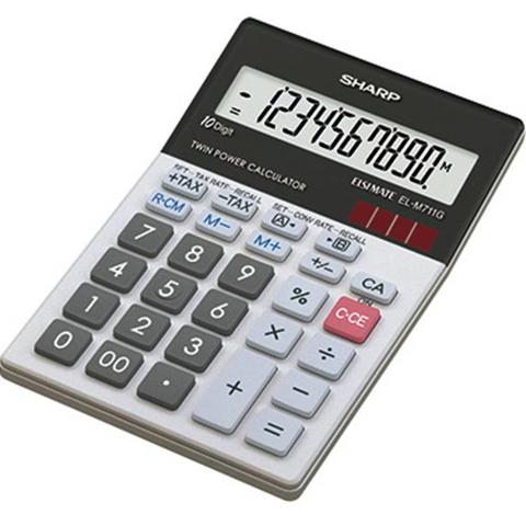 Sharp Calcolatrice da tavolo Sharp EL-M711G Nero, Bianco Display (cifre): 10 a energia solare, a batteria (L x A x P) 100 x