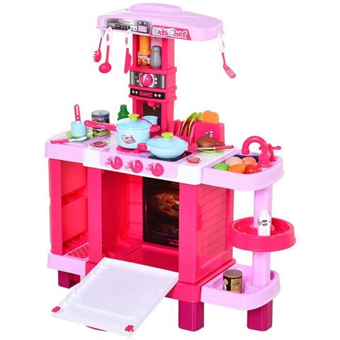 Homcom Cucina Giocattolo per Bambini con 38 Accessori Rosa