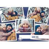 Optimalprint Julekort En ferie å huske, 5 bilder (fotocollage), ramme, snøflak, transparent, blå, A6, flatt, Optimalprint