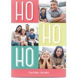 Optimalprint Julekort, 3 bilder, ho ho ho, grønn, rosa, A6, flatt, Optimalprint