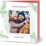 Optimalprint Julekort Jule furu grener, fotokort (1 foto), gren, nåletre, grønn, klassisk, kvadratisk, brettet, Optimalprint