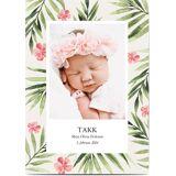 Optimalprint Takkekort baby, fotokort (1 foto), blomster, blomst, løv, tropisk, vannfarge, pike, grønn, rosa, A5, flatt, Optimalprint