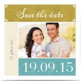 Optimalprint Save the Date kort, fotokort (1 foto), blå, gul, klassisk, kvadratisk, flatt, Optimalprint