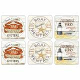 Pimpernel Coastal Signs Glassunderlag 6-pack