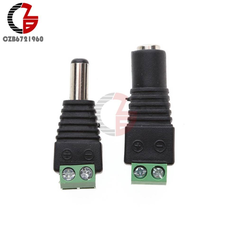5Pair Male Female DC 12V 24V Connector Power Jack Charging Slot Adapter Plug Verbinder Interconnects for CCTV 5.5 x 2.1mm