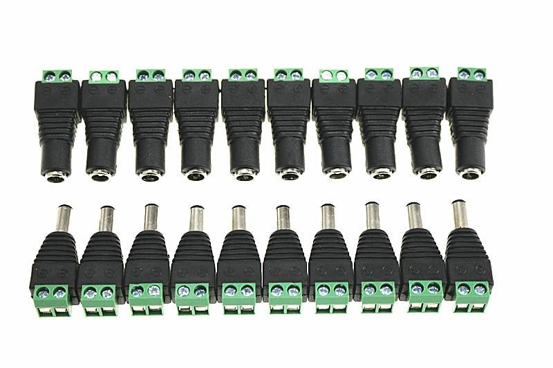 10 PAIRS 12V Male+Female 2.1x5.5MM DC Power Jack Plug Adapter Connector for CCTV Camera Green