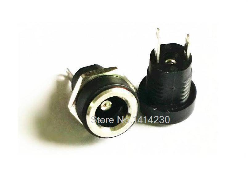 10Pcs 3A 12v for DC Power Supply Jack Socket Female Panel Mount Connector 5.5mm 2.1mm Plug Adapter 2 Terminal types 5.5*2.1mm