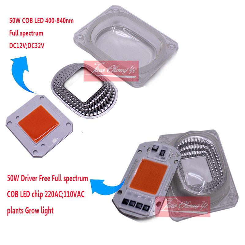 50W Fled grow chip full spectrum 380-840nm DC12V 32V 110VAC 220AC+50w led lens 12V 46X40MM 110V 60X40MM