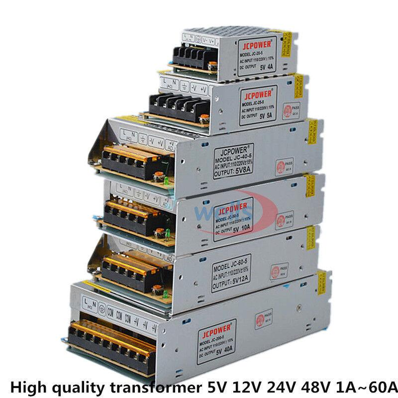 AC DC 5V 12V 24V 36V 48V Power Supply 2A/3A/4A/5A/6A/10A/12A/20A/30A/40A/60A 110/220V Transformer For LED Strip Light LED Driver