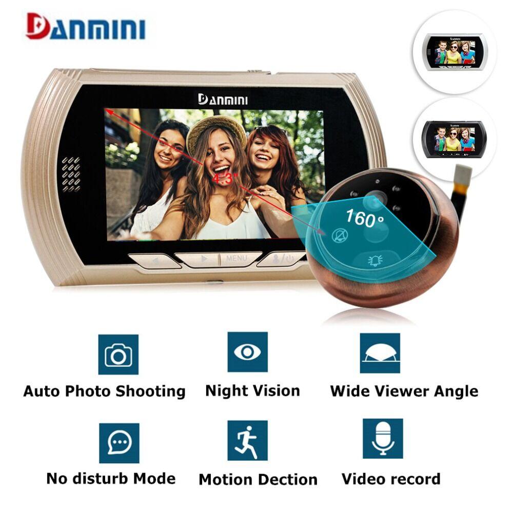 "YB-43AHD-M 4.3""HD Color Screen Smart Doorbell Viewer Digital Door Peephole Viewer Camera Door Eye Video record IR Night vision"