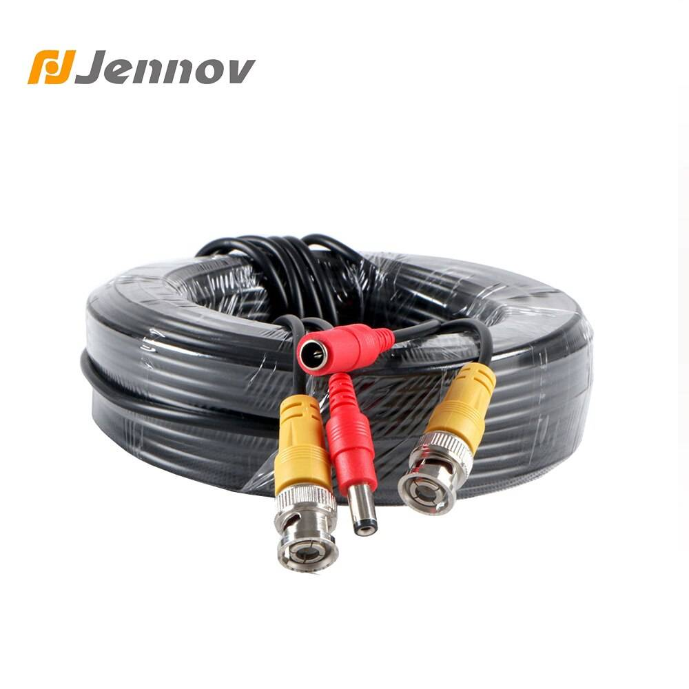 Jennov 30M Meters BNC Video And Adapter Power 12V DC Integrated Cable for Analog 5m 10m 18..3m 20m CCTV DVR Camera System Kit