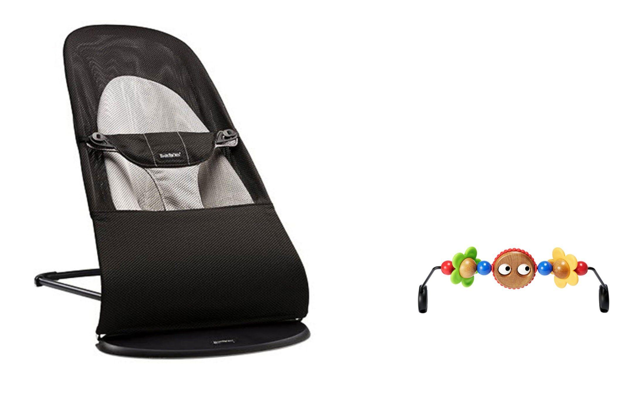 BabyBjörn Babysitter Balance Soft Svart/Grå Mesh + Leksak