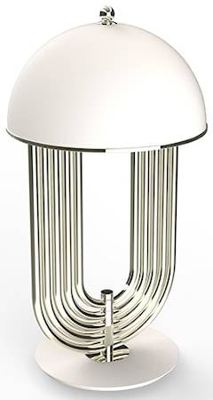 Delightfull Turner bordslampa – Nickel, matt vit