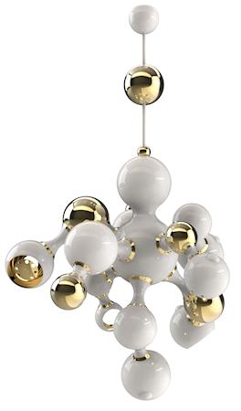 Delightfull Atomic takpendel - White/gold lacquered