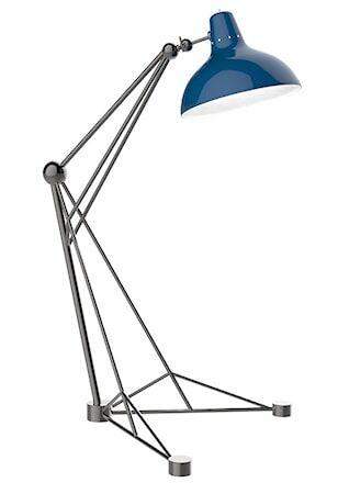 Delightfull Diana golvlampa – Svart nickel, blå