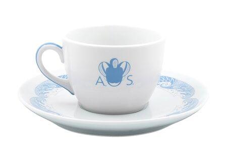 Anitha Schulman Porslin Stories from the sea kaffekopp inkl fat – Azur, 2-pack