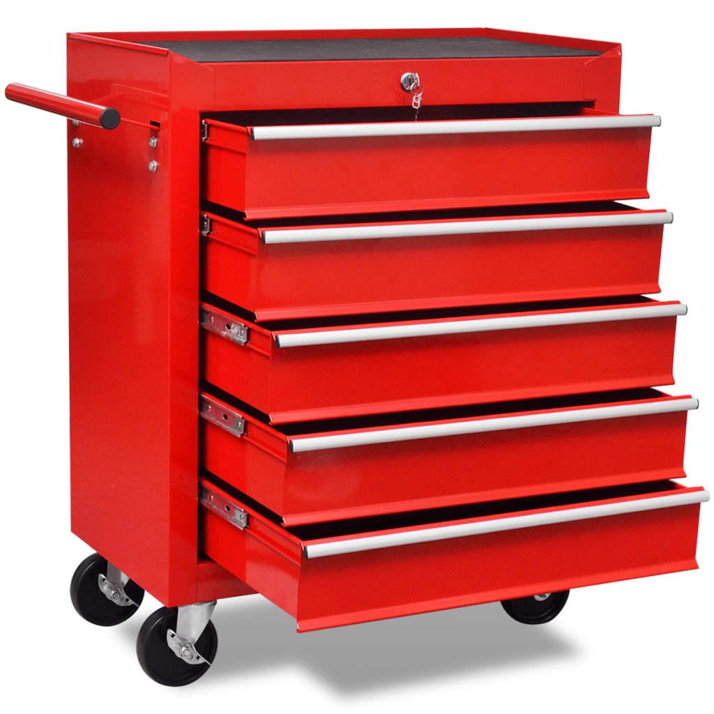 vidaXL Verktygsvagn med 5 lådor röd