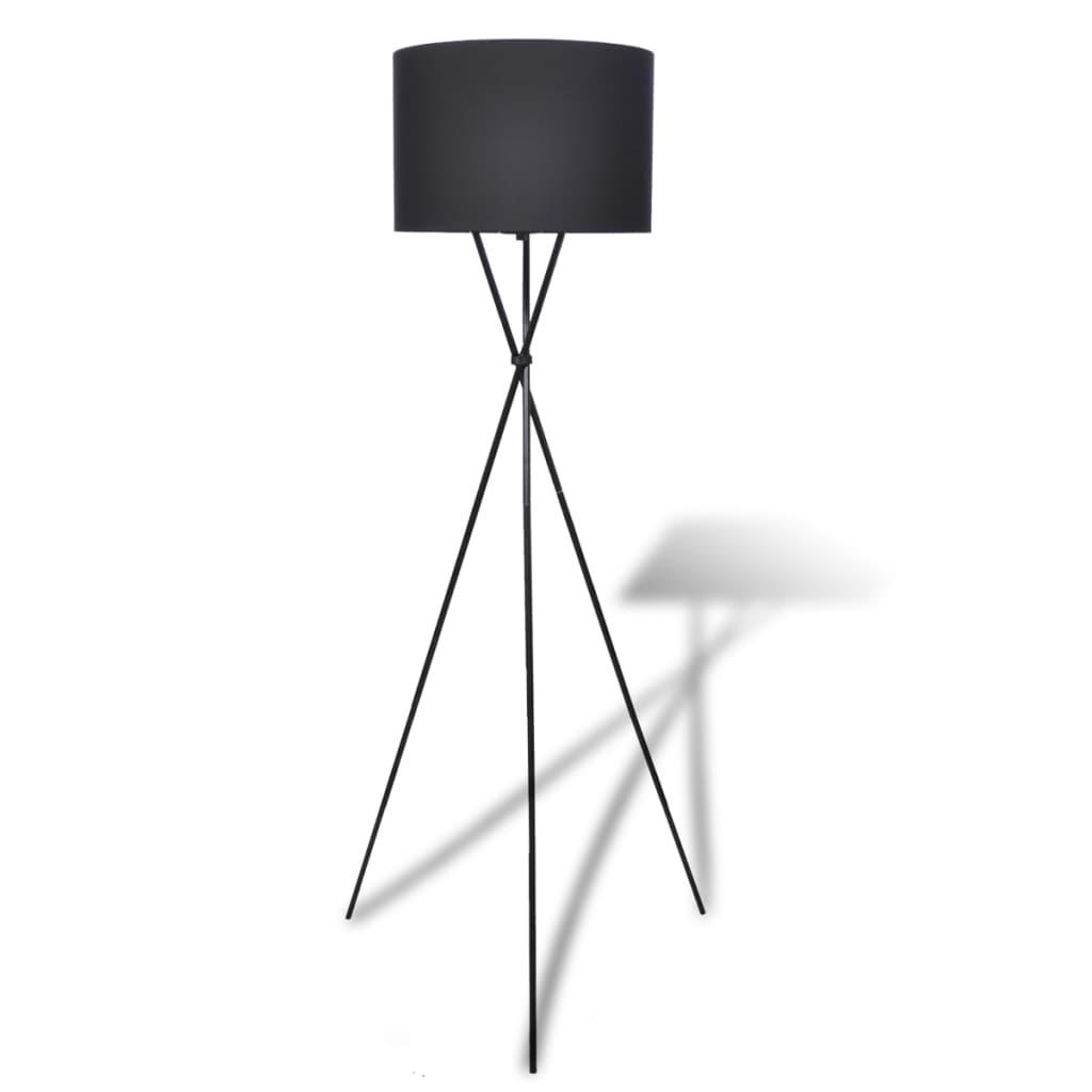 vidaXL Golvlampa med lampskärm svart