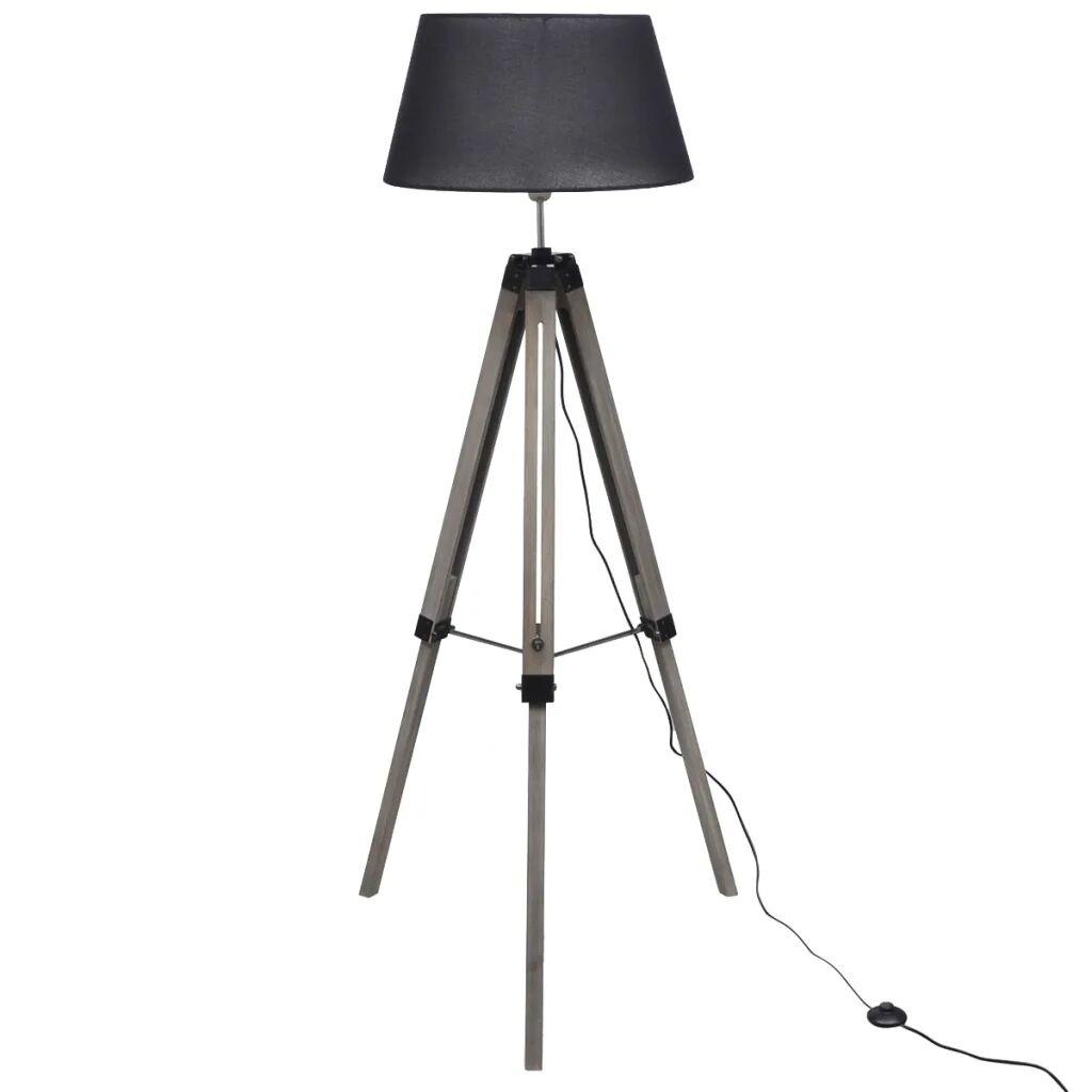 vidaXL Golvlampa med tygskärm på justerbart trästativ svart