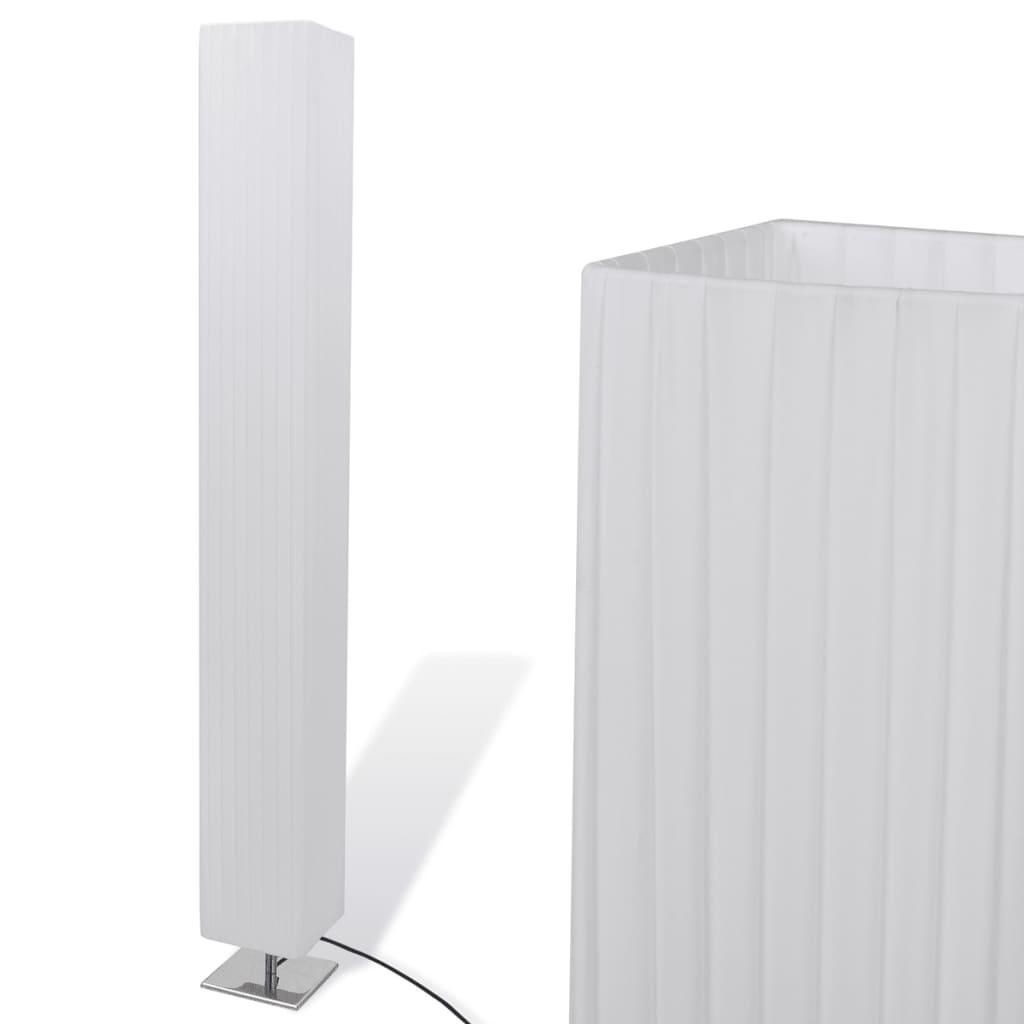vidaXL Fyrkantig golvlampa i rostfritt stål och lampskärm i PE vit