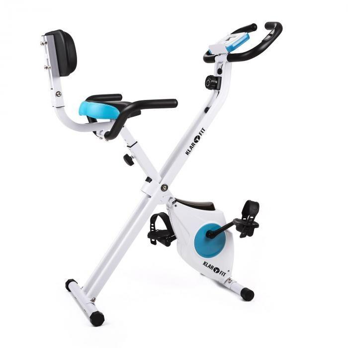 KLARFIT Azura Pro träningscykel ryggstöd sidofäste hopfällbar 100kg