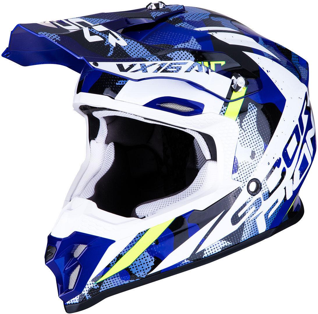 Scorpion VX-16 Air Waka Motocross hjälm Svart Vit Blå M