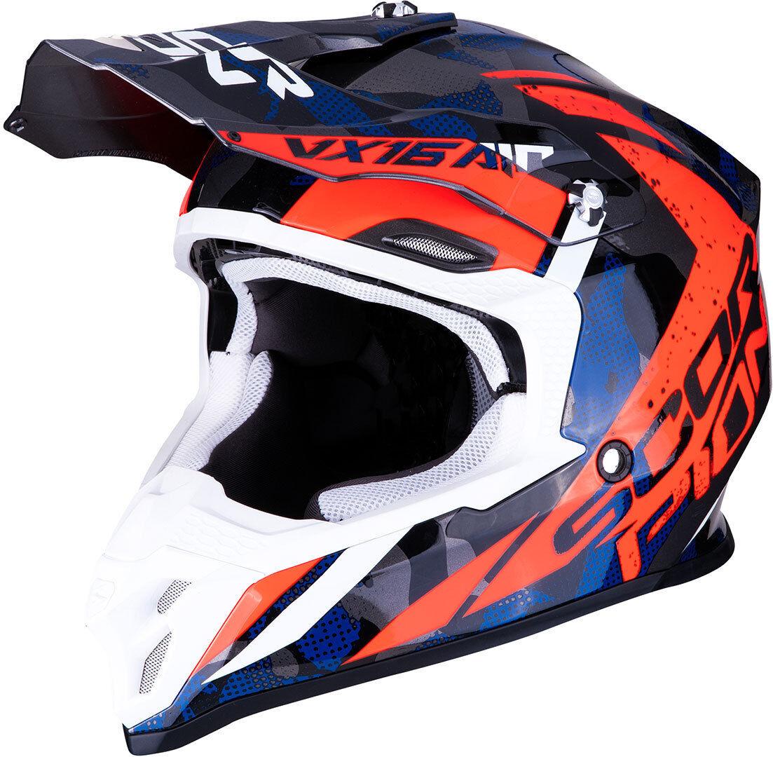 Scorpion VX-16 Air Waka Motocross hjälm Röd Blå M