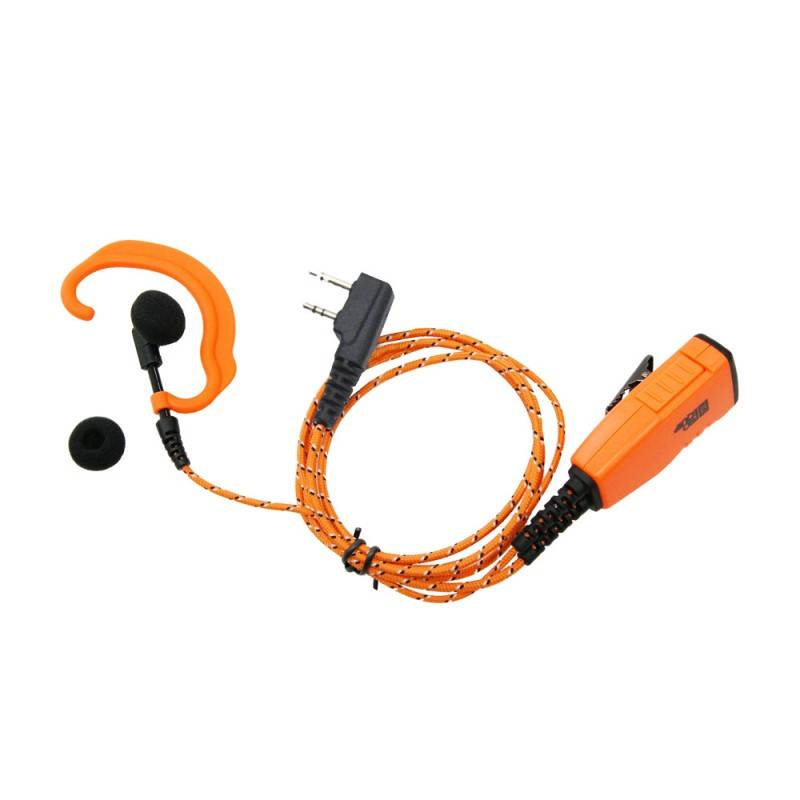 ProEquip PRO-P610L Headset med tygkablar, orange robust mik/PTT och C-Mussla