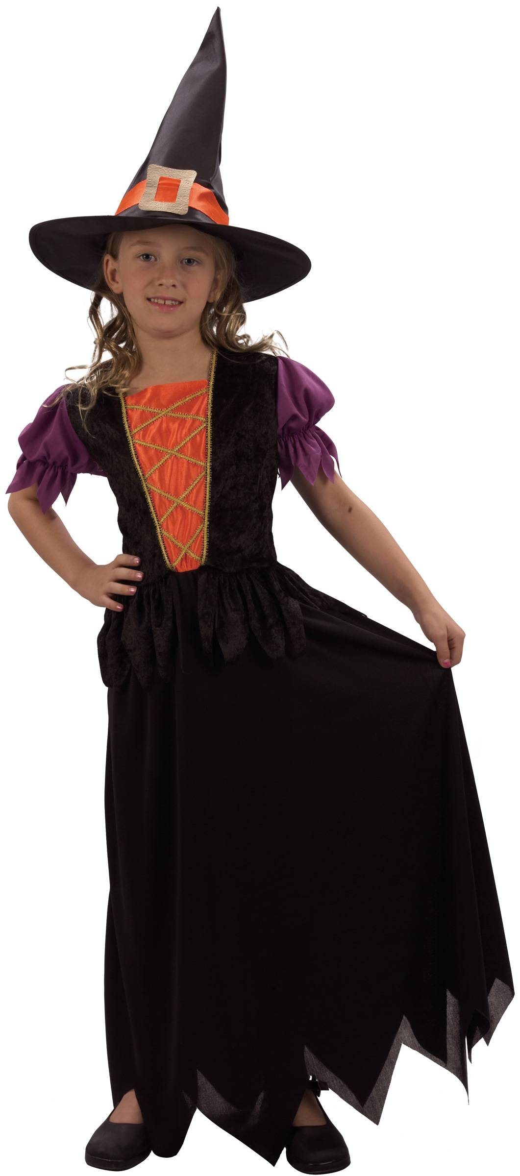 Vegaoo Stygga Stina - Häxdräkt för barn 104 - 116 cm (4 - 6 år)