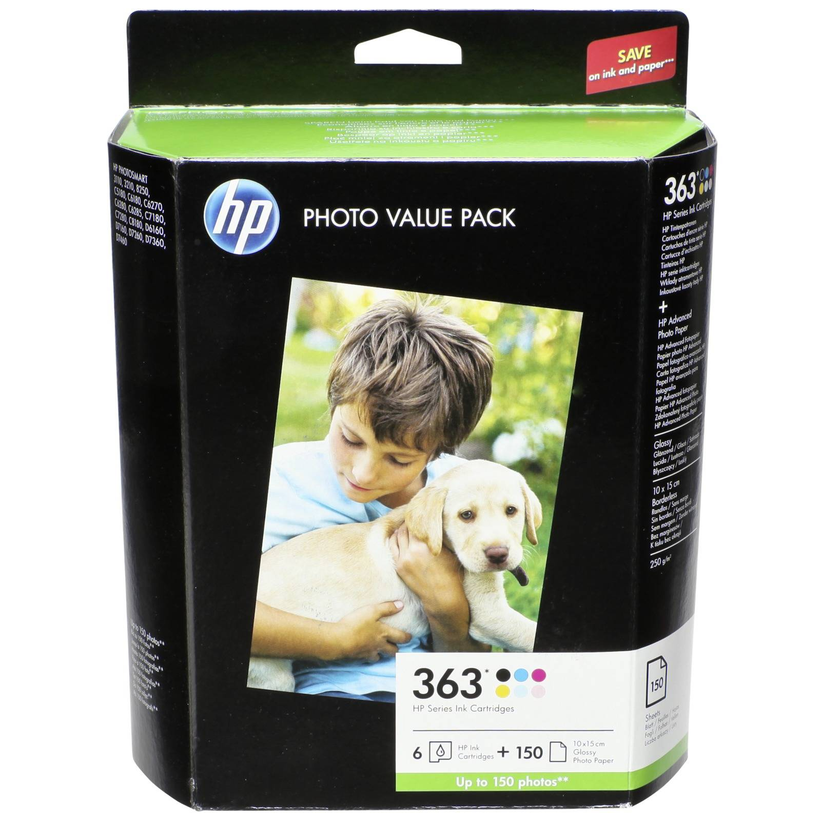 HP Q 7966 EE Value Pack No. 363 + Fotopapier 10x15 210 g