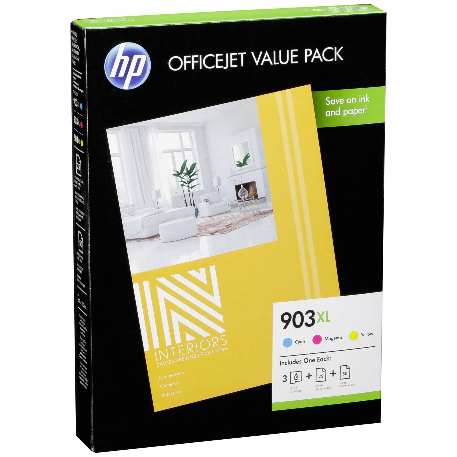 HP 1CC20AE Officejet Value Pack C/M/Y 903 XL + 75 Sh. Paper A 4