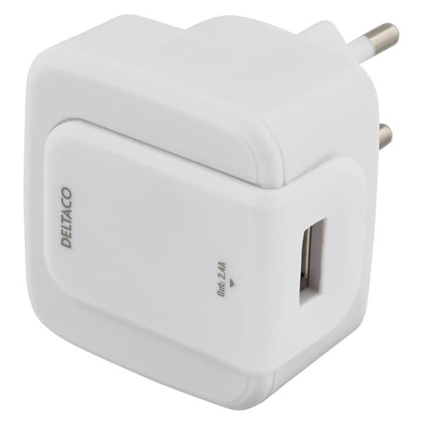 Deltaco Väggladdare USB, 5V, 2,4A Vit