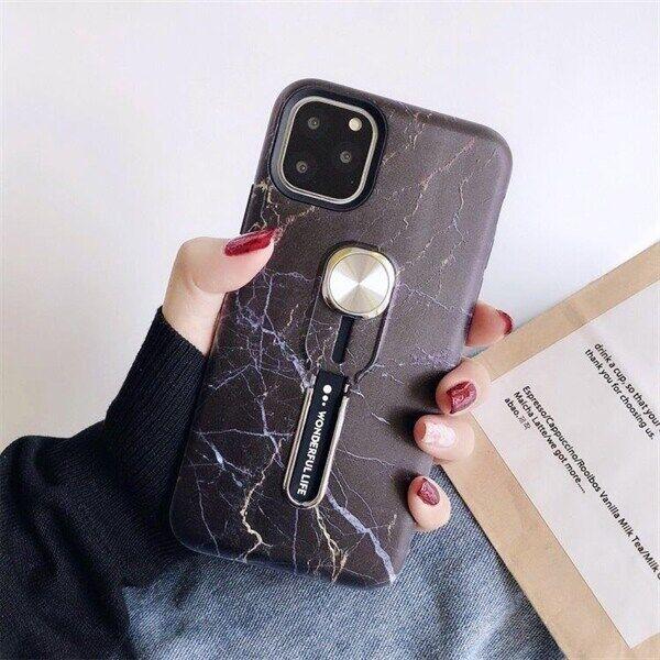 Apple Svart Marmorskal för iPhone 11 PRO med Magnet & Fingerhållare