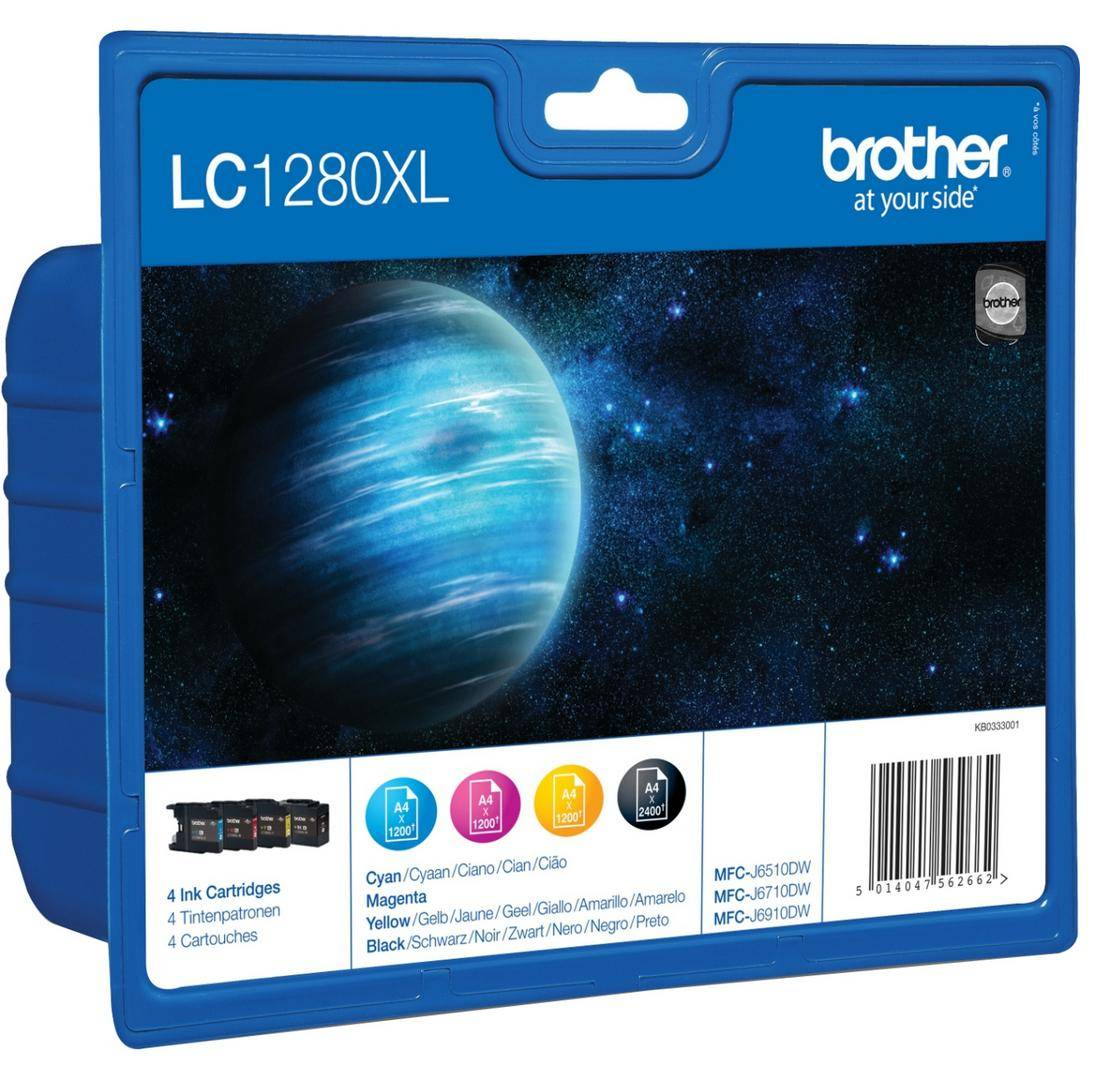 Brother LC1280XL Value Pack - 4-pack - svart,