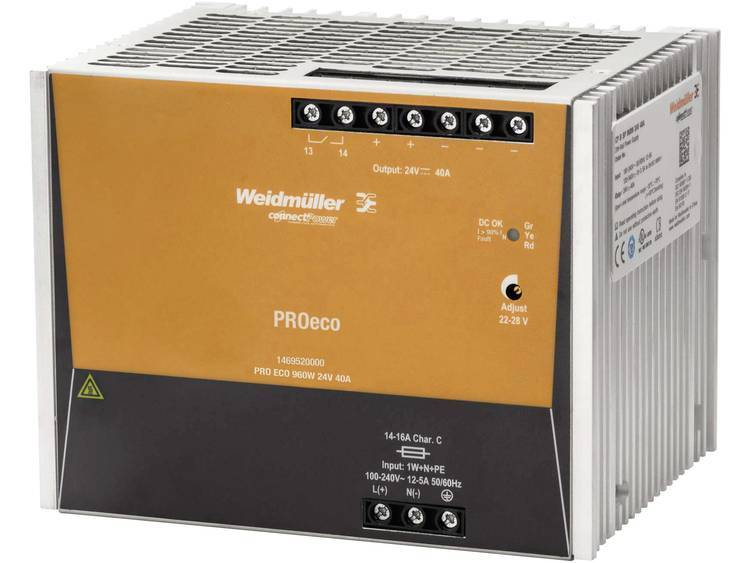 Weidmüller PRO ECO 960W 24V 40A DIN-skena nätaggregat 12 V/DC 40 A 960 W 1 x